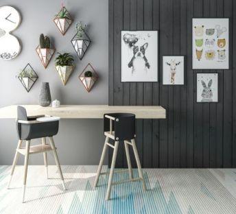 现代儿童餐桌椅墙饰组合