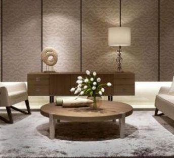 现代沙发茶几花艺组合