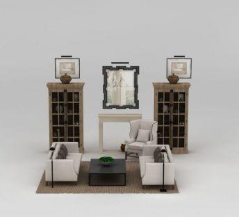 美式镜子沙发装饰柜组合