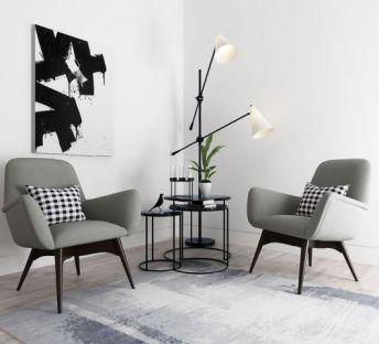 现代北欧休闲椅茶几组合