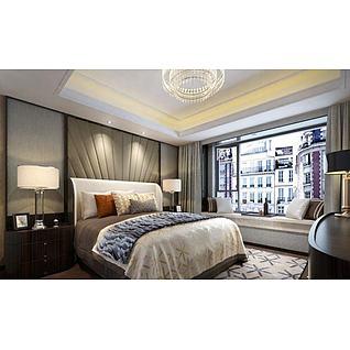现代床具床头柜组合3d模型