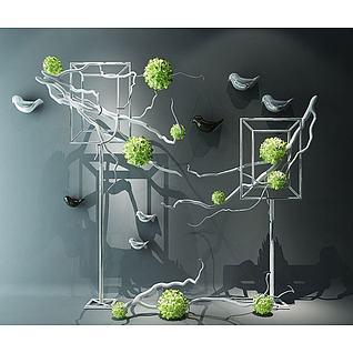 现代装饰彩花艺装饰组合3d模型3d模型