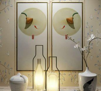 中式莲蓬立体装饰画花艺