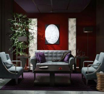 现代沙发茶几竹子组合