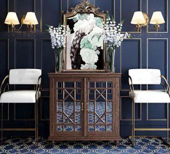 古典玄关柜壁灯椅子组合