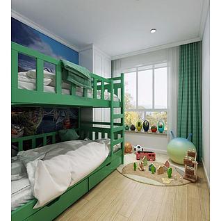 美式地中海儿童房双层床3d模型