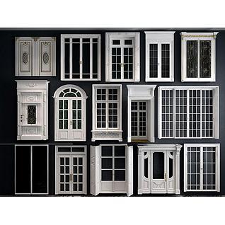 推拉门双开门阳台门组合3d模型
