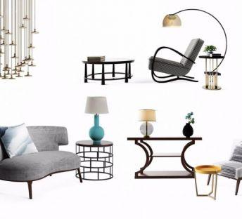 休闲沙发茶几灯具组合