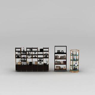 时尚现代书柜展示架组合3d模型3d模型