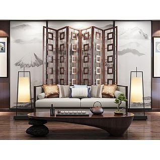 新中式隔断沙发茶几组合3d模型