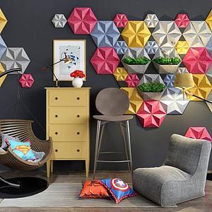 创意几何墙饰休息椅组合模型