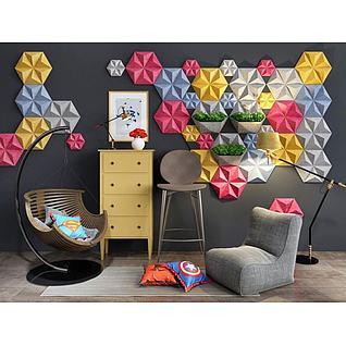 创意几何墙饰休息椅组合3d模型