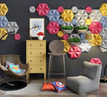 创意几何墙饰休息椅组合
