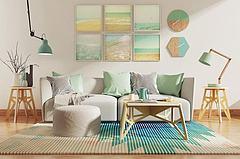 创意现代沙发茶几挂钟模型3d模型