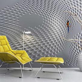 创意背景墙枯树枝休闲躺椅模型