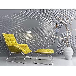 创意背景墙枯树枝休闲躺椅3d模型3d模型