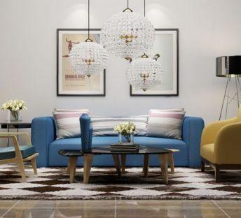 现代水晶球吊灯沙发椅组合