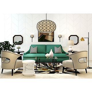 美式沙发镂空椅子茶几组合3d模型