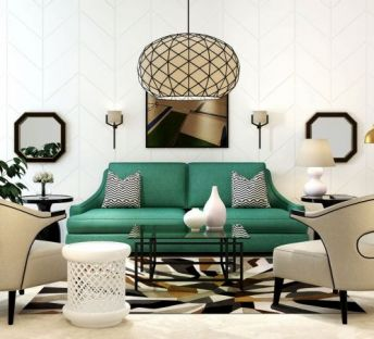 美式沙发镂空椅子茶几组合