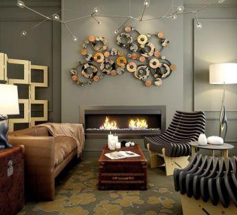 新中式沙发壁炉落地灯组合