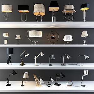 现代欧式时尚台灯组合模型