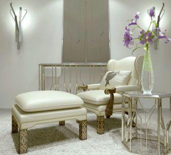 欧式沙发脚凳花瓶植物组合