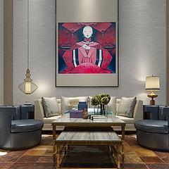 新中式沙发茶几吊灯组合模型3d模型