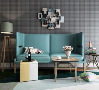 现代沙发茶几创意挂钟组合