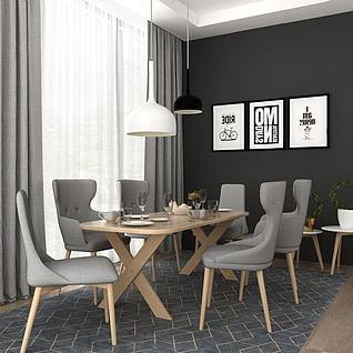 现代餐厅餐桌椅吊灯组合3d模型3d模型