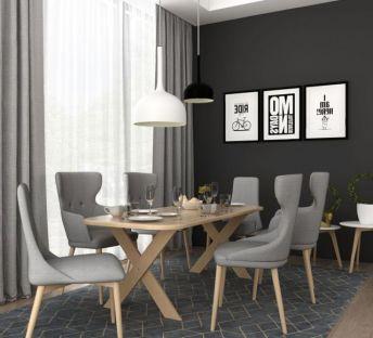 现代餐厅餐桌椅吊灯组合