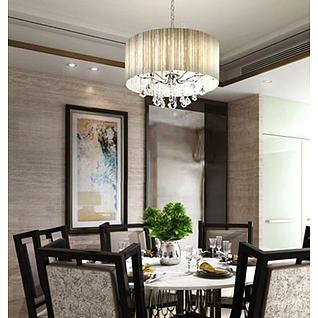 新古典餐桌椅吊灯组合3d模型