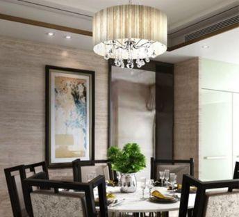 新古典餐桌椅吊灯组合