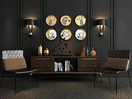 现代电视柜挂饰藤椅饰品3d模型