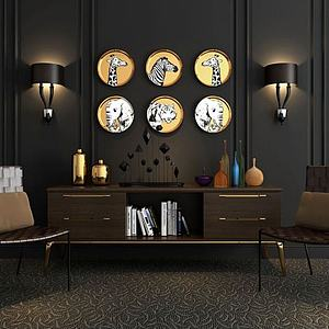 3d现代电视柜挂饰藤椅饰品模型