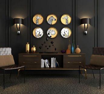 现代电视柜挂饰藤椅饰品
