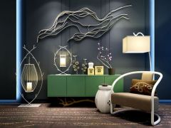 新中式装饰品灯具柜子组合模型3d模型