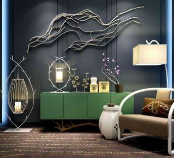 新中式装饰品灯具柜子组合
