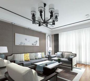 中式客厅吊灯沙发组合