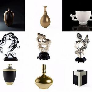 新中式禅意雕塑摆件器皿模型3d模型