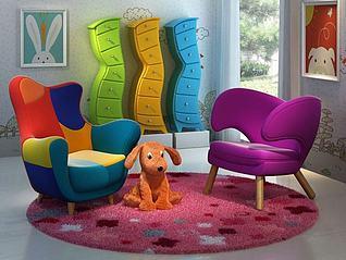 创意现代儿童家具小狗玩具3d模型