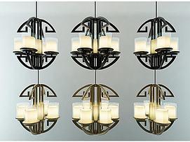 现代新中式4头6头吊灯组合模型