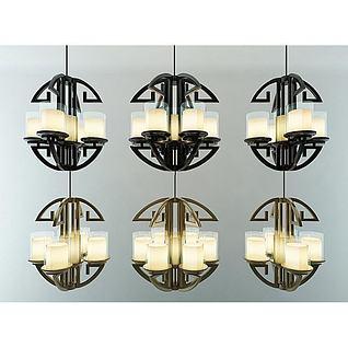 现代新中式4头6头吊灯组合3d模型