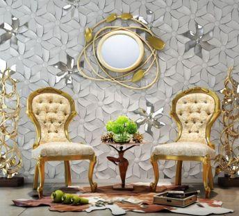 花瓣背景墙欧式单椅组合