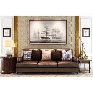 简欧皮沙发造型墙角几组合3d模型