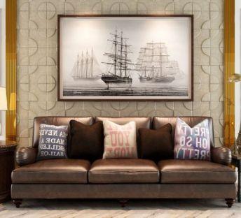 简欧皮沙发造型墙角几组合