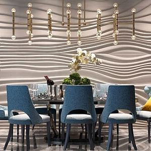 简欧餐桌椅流线造型墙模型