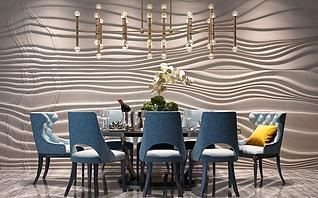 简欧餐桌椅流线造型墙模型3d模型