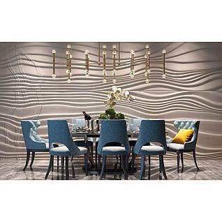 简欧餐桌椅流线造型墙3d模型3d模型