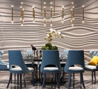 简欧餐桌椅流线造型墙