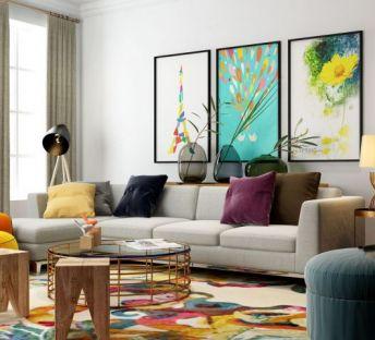 简约现代客厅沙发茶几组合